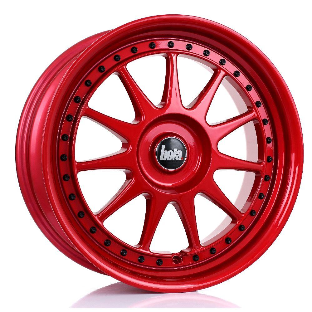 BOLA B4 hliníkové disky 8x18 5x112 ET30 DO 45 CANDY RED BLACK RIVETS