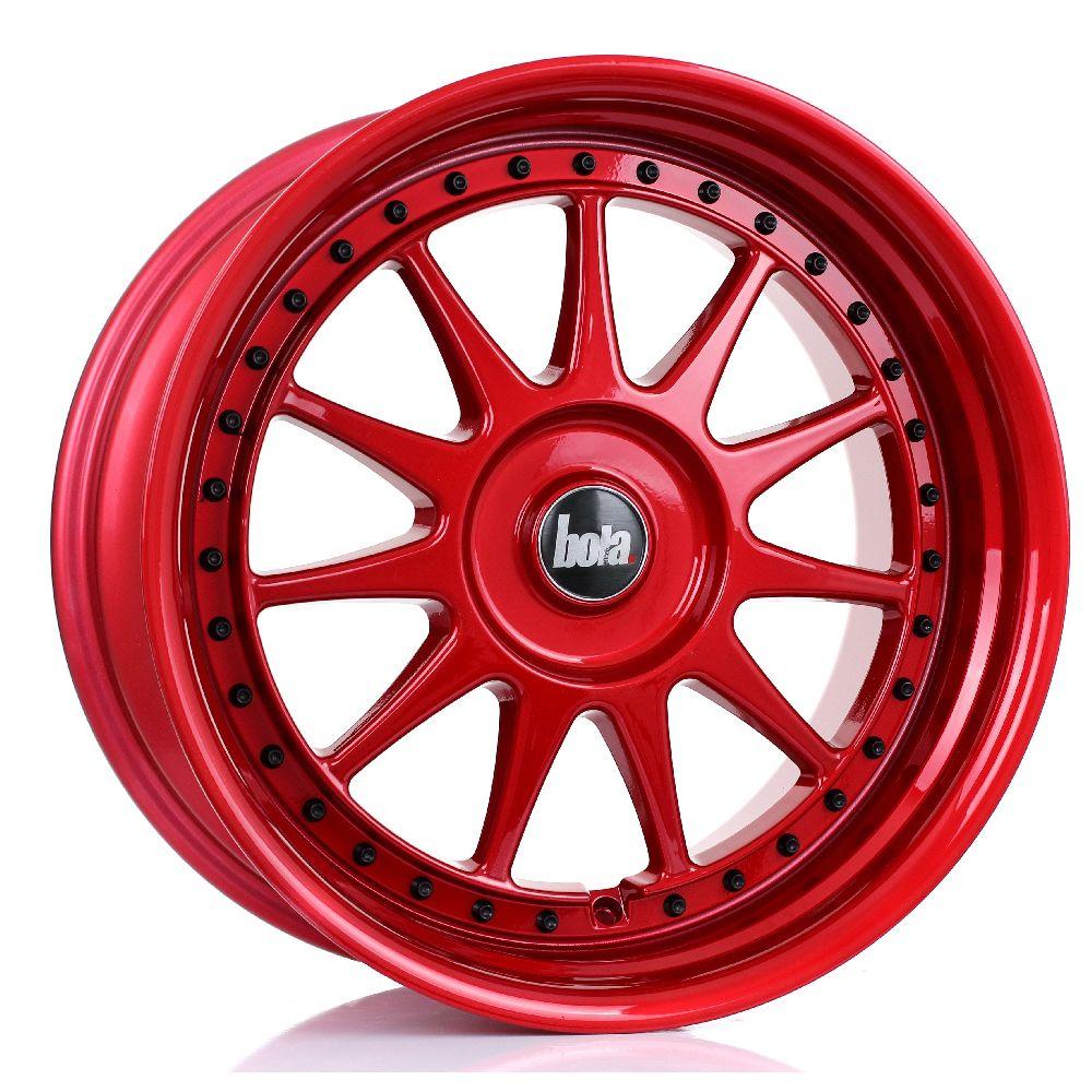BOLA B4 hliníkové disky 9x18 5x115 ET30 DO 45 CANDY RED BLACK RIVETS