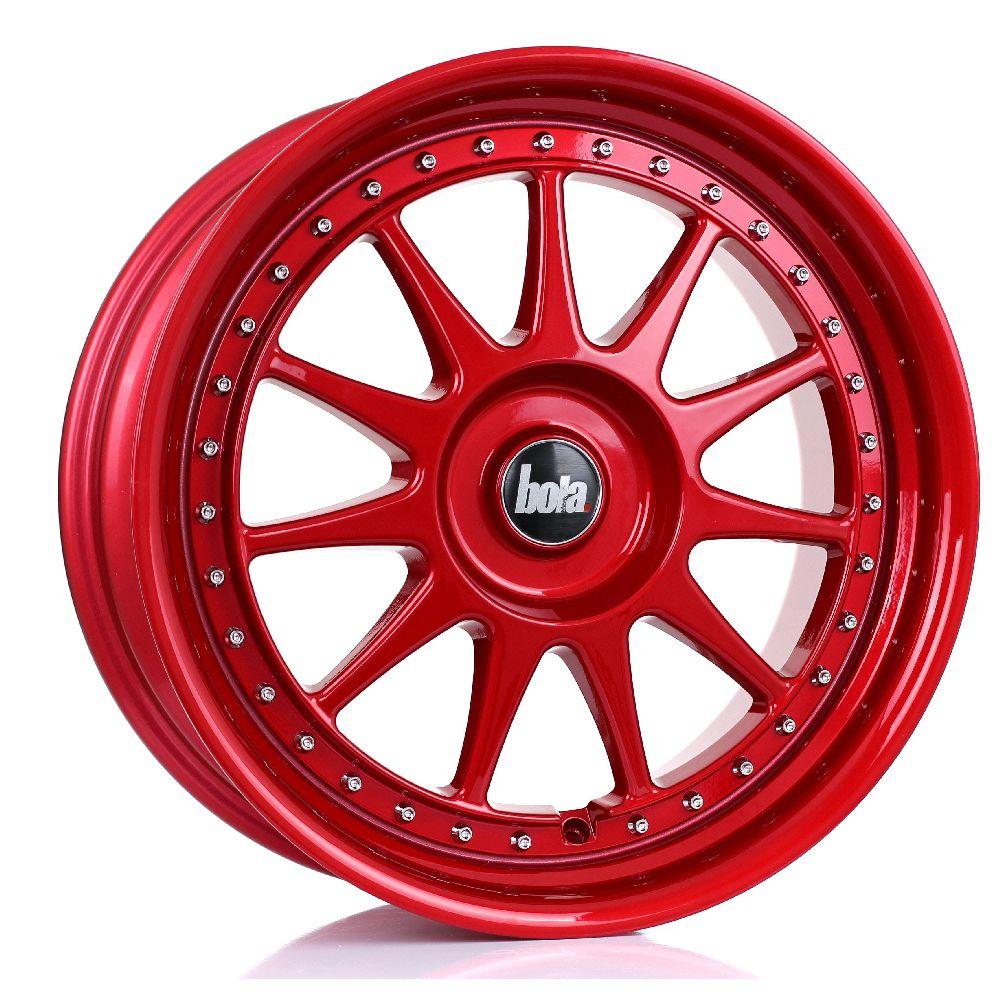 BOLA B4 hliníkové disky 8x18 5x120 ET30 DO 45 CANDY RED SILVER RIVETS