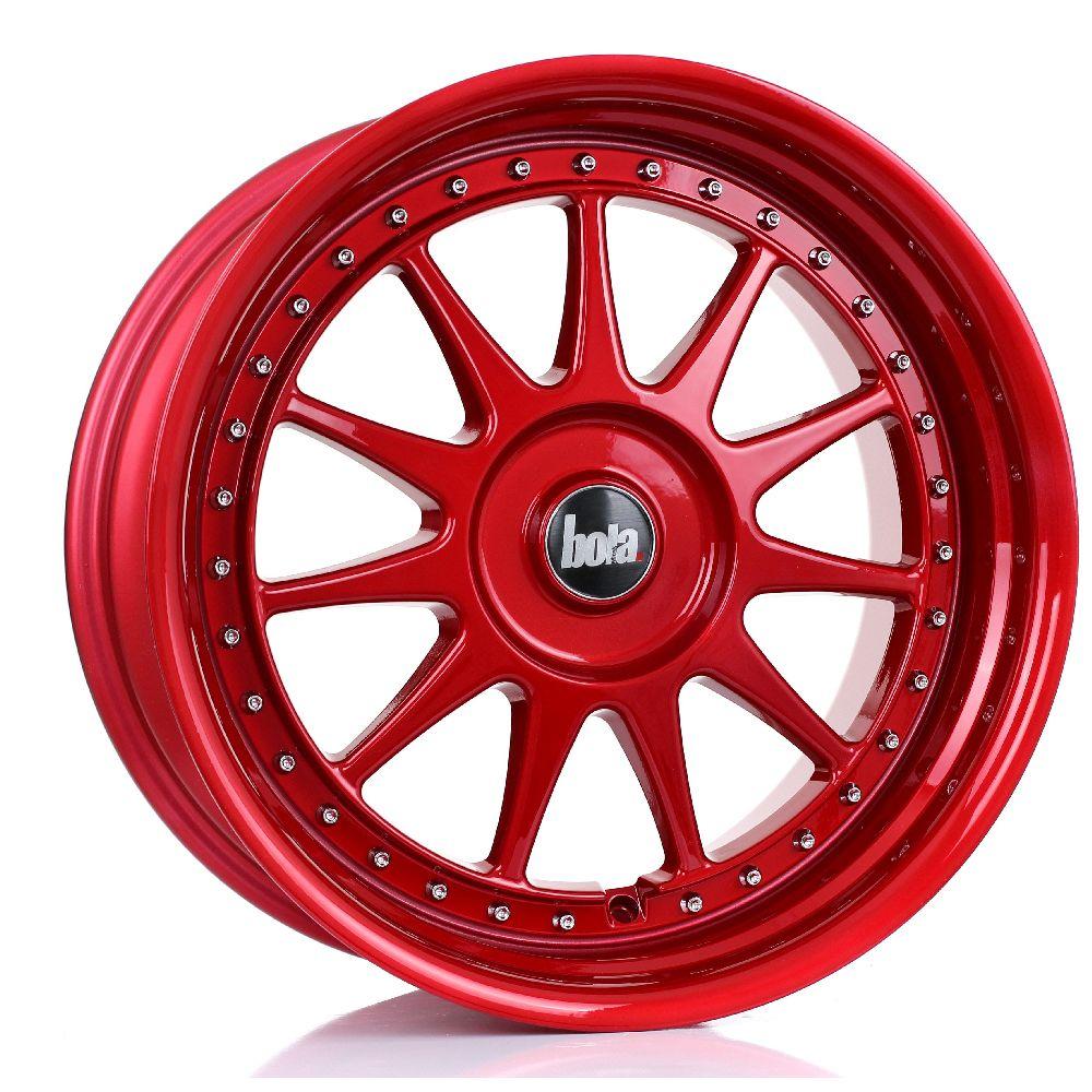 BOLA B4 hliníkové disky 9x18 4x108 ET30 DO 45 CANDY RED SILVER RIVETS