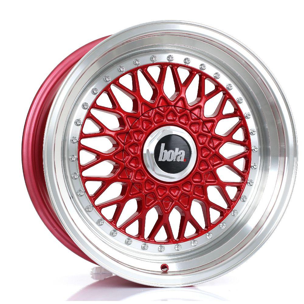 BOLA TX09 hliníkové disky 8x17 4x100 ET20 DO 38 CANDY RED POLISHED LIP
